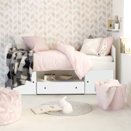 Frooti Cabin Bed with Storage for Kids Bedroom White Children Rooms