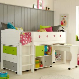 frooti-mid-sleeper-system-with-roll-out-desk-chest-of-drawers-storage-bookcase-for-kids-bedroom-lime-white-children