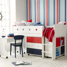 frooti-mid-sleeper-system-with-roll-out-desk-chest-of-drawers-storage-bookcase-for-kids-bedroom-red-blue-plus-white-children