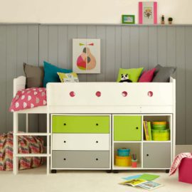 frooti-midsleeper-bed-system-with-chest-of-drawers-storage-bookcase-for-kids-girls-boys-bedroom-children-white-lime-grey-space-saver
