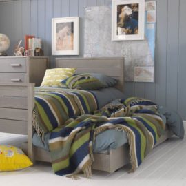 Woodland Single Bed Grey Ash by Little Folks for Kids Children Solid Wood Furniture Sleepovers