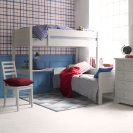 Fargo Highsleeper Bed with Daybed & Corner Desk Farleigh Grey by Little Folks for Kids Children Bedroom Solid Wood Furniture