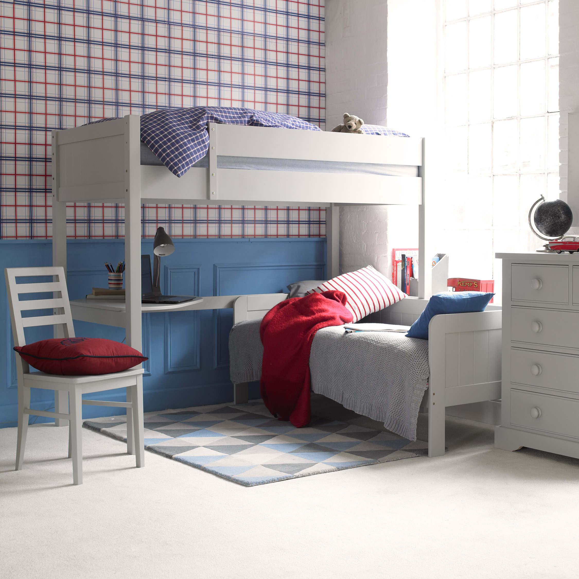 Fargo Highsleeper Bed with Daybed & Corner Desk - Farleigh Grey by Little Folks