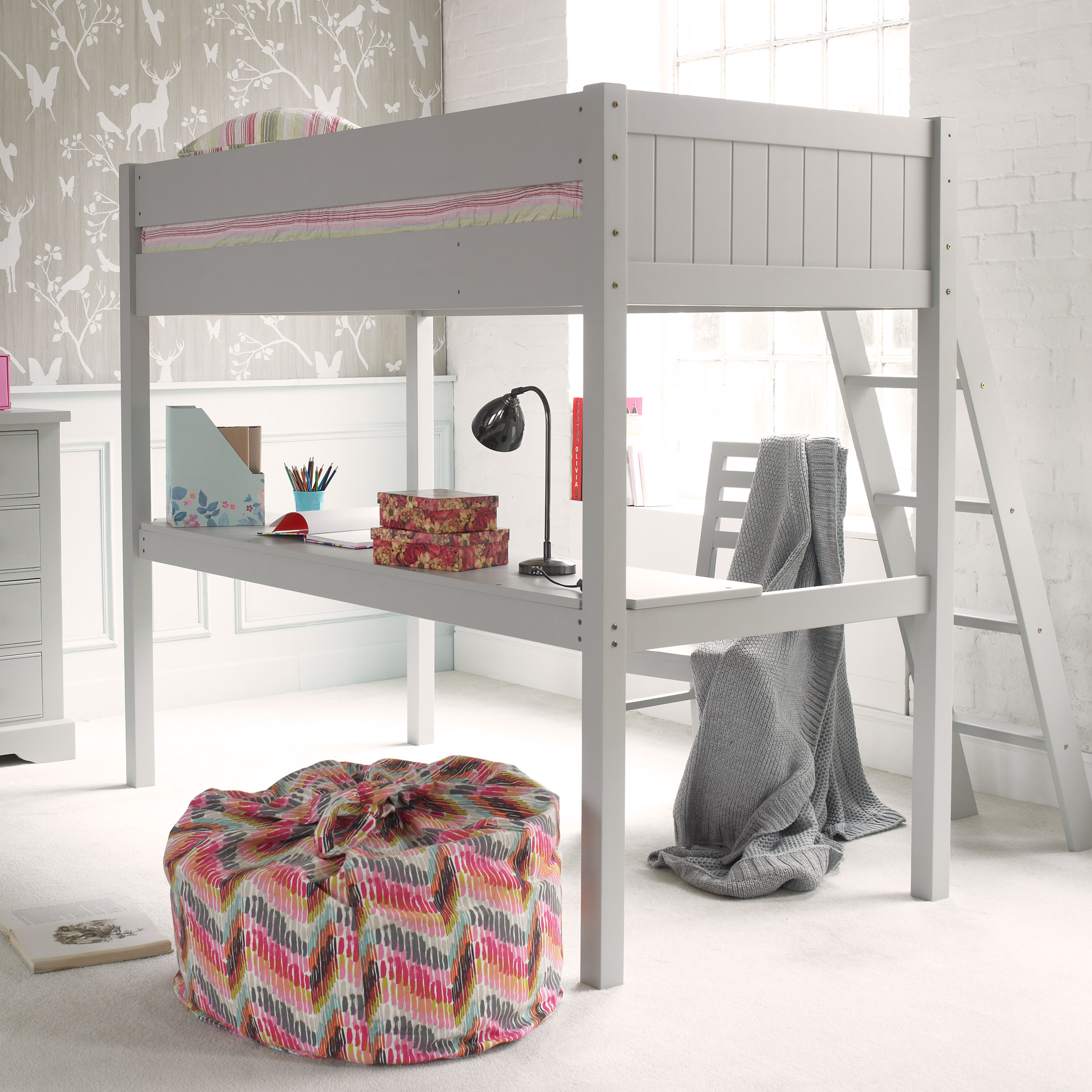 Fargo Highsleeper Bed with Desk - Farleigh Grey by Little Folks