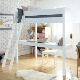 fargo-highsleeper-bed-with-full-lenght-desk-ivory-white-for-kids-bedroom-children-classic-solid-wood