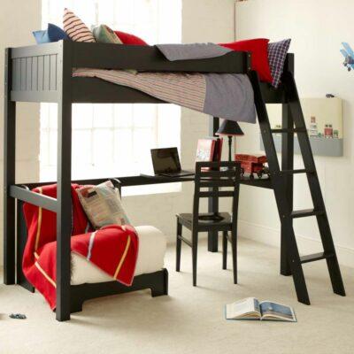 Fargo Highsleeper Bed with Desk & Futon - Painswick Blue by Little Folks