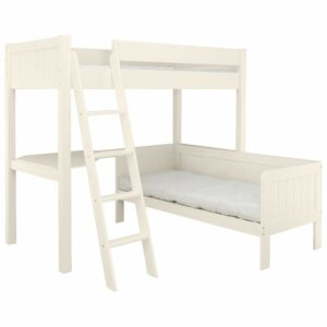 Fargo Highsleeper Bed with Daybed & Corner Desk - Ivory White by Little Folks