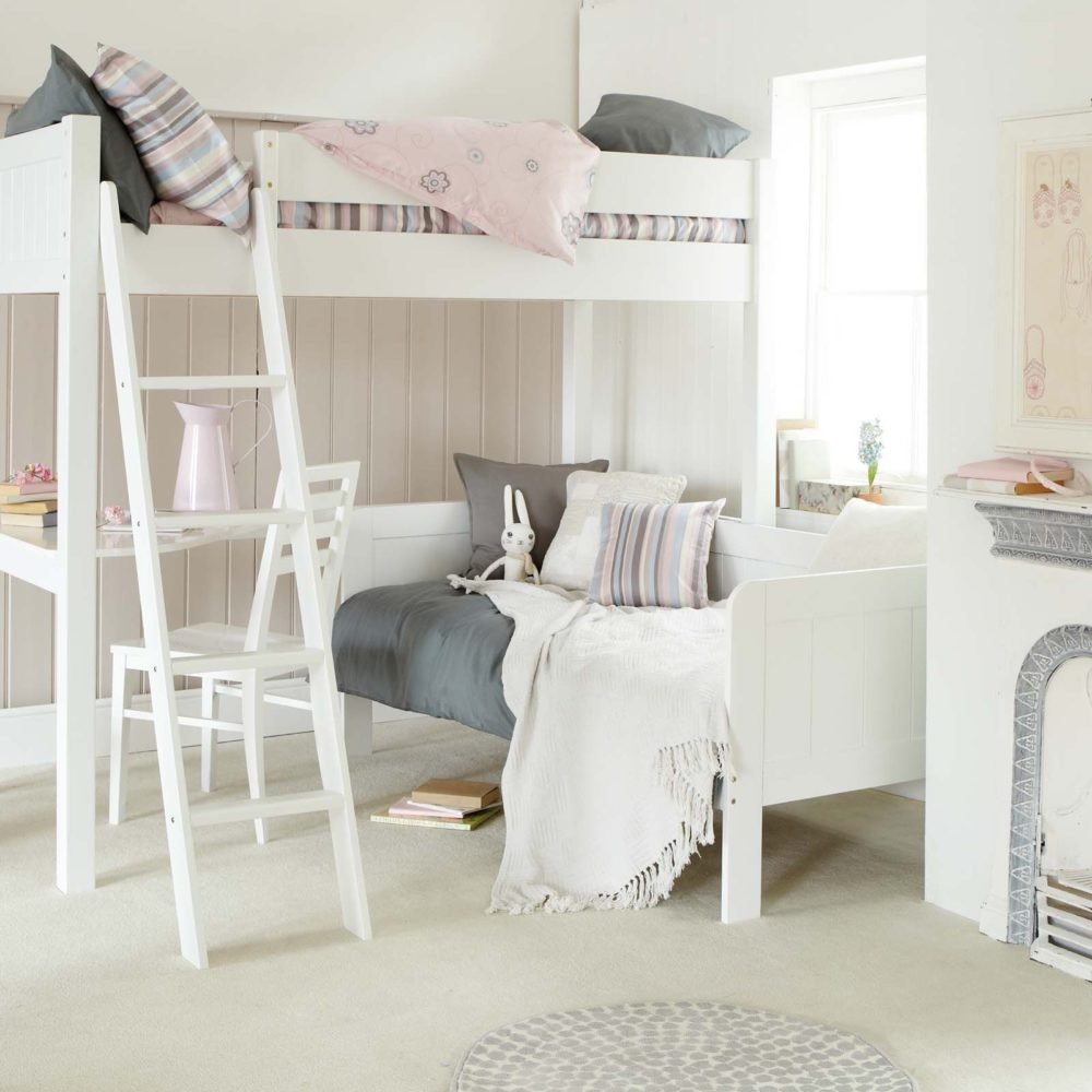 Fargo Highsleeper Bed Daybed Desk Ivory White By Little Folks Kids In S A