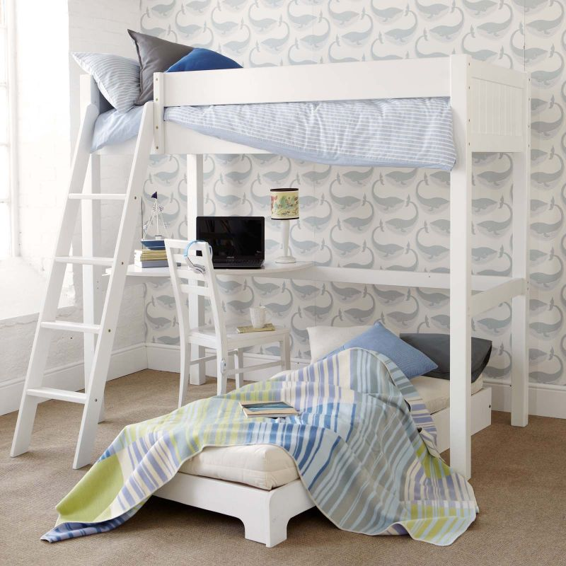 Fargo Highsleeper Bed With Desk Futon Ivory White By Little Folks