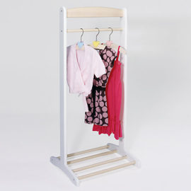 Childrens Clothes Rail Stand Rack White Wooden Kids Coat