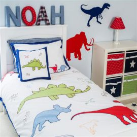 Dinosuar Single Duvet for Kids Boys Cotton Bedroom Bedding Applique Colourful