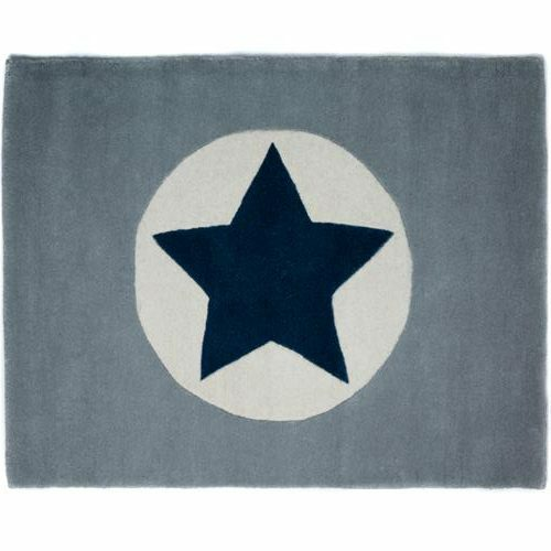 Grey Star Rug Navy for Kids Bedrooms Decor Boys Wool Childrens Rooms