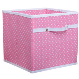 pink dotty storage box for Kids bedroom playroom fabric