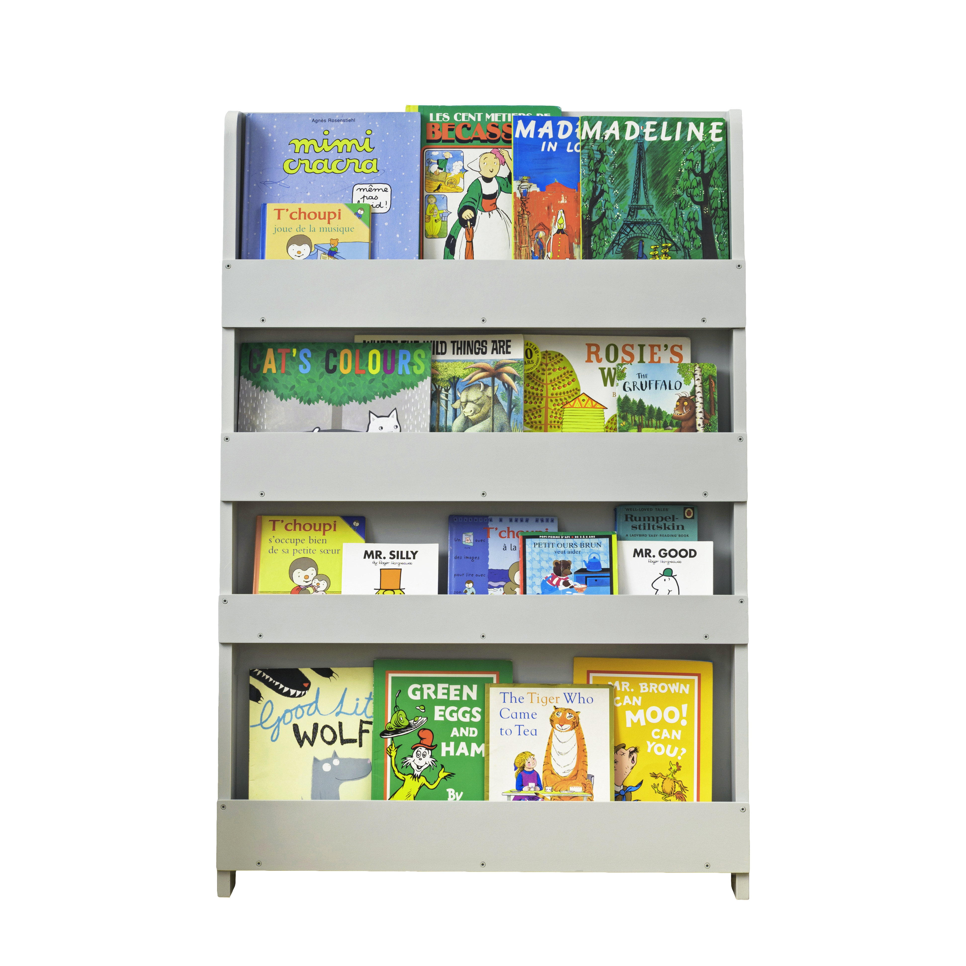 wooden bookcase pale grey by tidy booksfor children