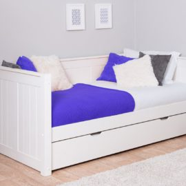 Day Bed for Kids with Trundle Underbed Storage Childrens Rooms Furniture Solid Wood Sleepovers