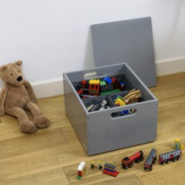 Stack Up Wooden Sort Storage Box with Compartments Kids Toys Children Playroom Dark Grey Lid Dividers Tidy Books Kidsroom