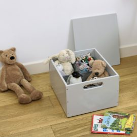Stack Up Wooden Sort Storage Box with Compartments Kids Toys Children Playroom Pale Grey Lid Dividers Tidy Books