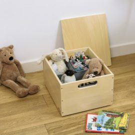 Stack Up Wooden Sort Storage Box with Compartments for Kids Toys Children Playroom Natural Lid Dividers Tidy Books