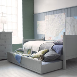 Fargo Single Bed with Trundle Farleigh Grey for Kids Furniture Bedroom Little Folks Sleepovers Storage Children