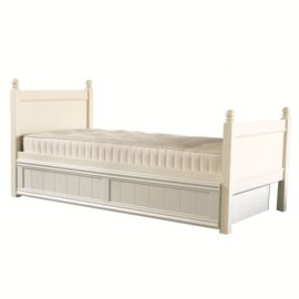 Fargo Single Bed with Trundle Ivory White for Kids Furniture Bedroom Little Folks Sleepovers Storage Children