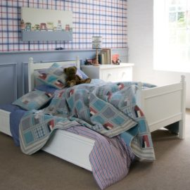 Fargo Single Bed with Underbed Trundle for Kids Children Ivory White Solid Wood Bedroom Kidsroom