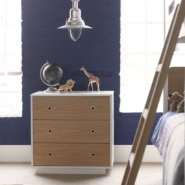 Simple Chest of Drawers Oak and White by Little Folks for Kids Bedroom Furniture Children