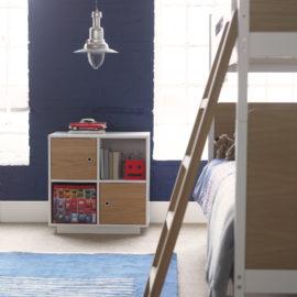 Simple Quadrant Storage Unit Oak White by Little Folks Furniture for Kids Bedroom Children Doors
