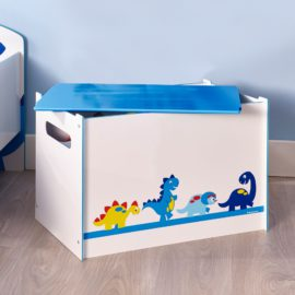 Dinosaur Toy Box Kids Children Boys, Storage Chest, Bedroom Boxes Organiser Toddler Playroom, Wooden Unit Bin Tidy