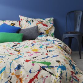 Paint Splatter Duvet Set with Pillow Case for Children Pure Cotton Kids Bedroom Bedding Blue Bed Linen Double Size Teenagers Boys