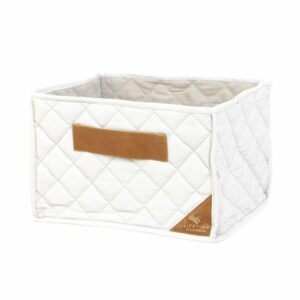 Quilted Fabric Toy Basket - Ecru by Lifetime Kidsrooms