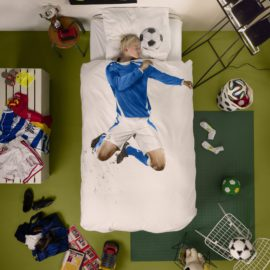Soccer Champ Duvet Set with Pillow Case for Children Pure Cotton Kids Bedroom Bedding Blue Bed Linen