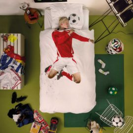 Soccer Champ Duvet Set with Pillow Case for Children Pure Cotton Kids Bedroom Bedding Red Bed Linen Football