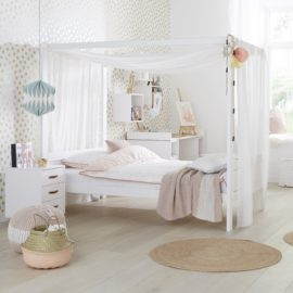 Three Quarter Four Poster Canopy Bed for Kids Children Girls Teen Bedroom Furniture Solid Wood