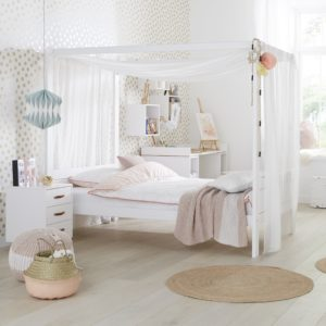 Four Poster Bed with Canopy (3/4), Solid Wood - White by Lifetime Kidsrooms