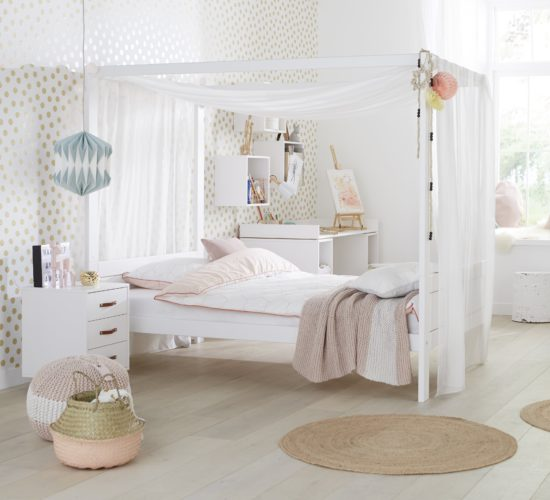 Four poster bed with canopy 3 4 white for children in s a - Solid wood youth bedroom furniture ...