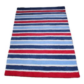 Boys Lucas Striped Blue and Red Pure Wool Rug for Kids Bedroom Playroom Decor Hand Tufted