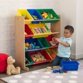 12 Bin Storage Unit, Natural Storage for Kids Playroom