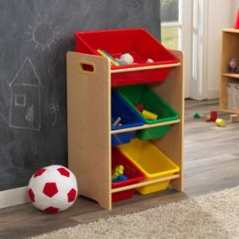 5 Bin Storage Unit, Natural Storage for Kids Playroom Children