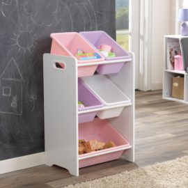 5 Bins Storage Unit White and Pastel for Kids Girls Toddler Playroom Kidsroom Children Toy