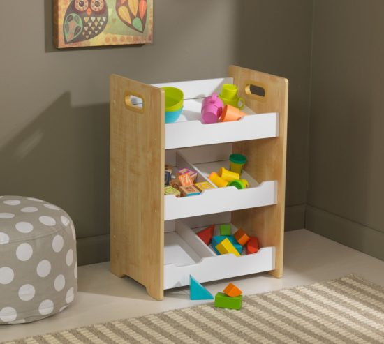 Angled Bin Unit with Shelves - Natural/White