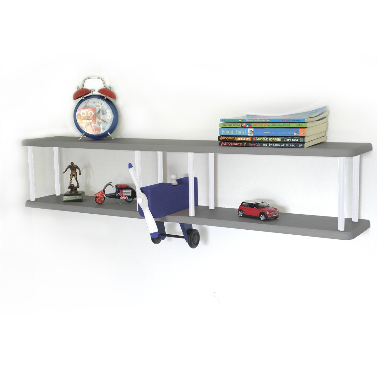 Bi-Plane Wall Shelf - Grey/Navy/White