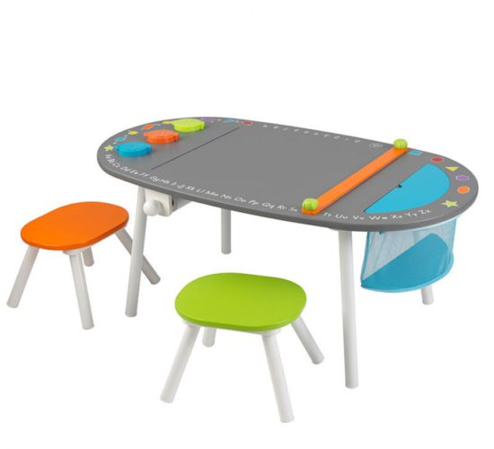 Chalkboard Art Table with Stools/Cups/Paper Roll