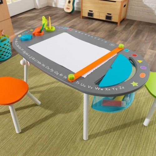 chalkboard art table with stools for childrens playrooms in s a. Black Bedroom Furniture Sets. Home Design Ideas