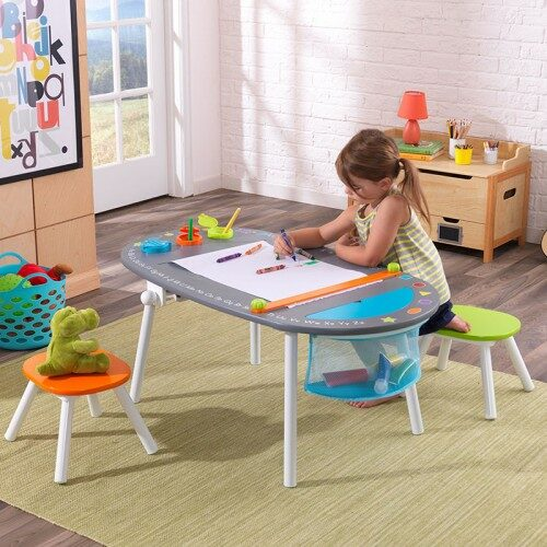 chalkboard art table with stools for childrens playrooms. Black Bedroom Furniture Sets. Home Design Ideas