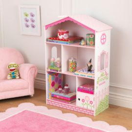 Dollhouse Cottage Bookcase White Pastel for Kids Girls Playroom Kidsroom Children Books Reading