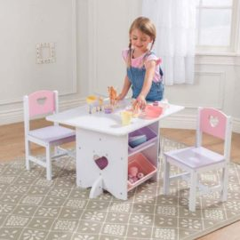 Heart Playtable And Chair Set For Kids Children Playroom Pastel Storage Toys  Arts And Crafts