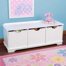 Nantucket Storage Bench Activity Bins for Kids Playroom Kidsroom Children Toys
