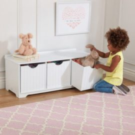 Nantucket Storage Bench for Kids Children Playroom White Storage Toys Chest Trunk