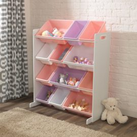 Sort it and Store It 12 Bin Storage Unit White and Pastel for Kids Girls Playroom Kidsroom Children Toys Tidy