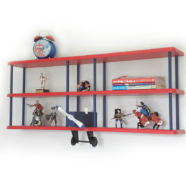Tri-Plane Wall Shelf Aeroplane Kids Shelfie Wall Storage Children Novelty Bookshelf Boys 3 Shelves